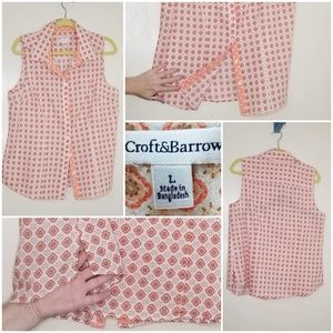 Croft & Barrow Button-up Coral/Cream Size L